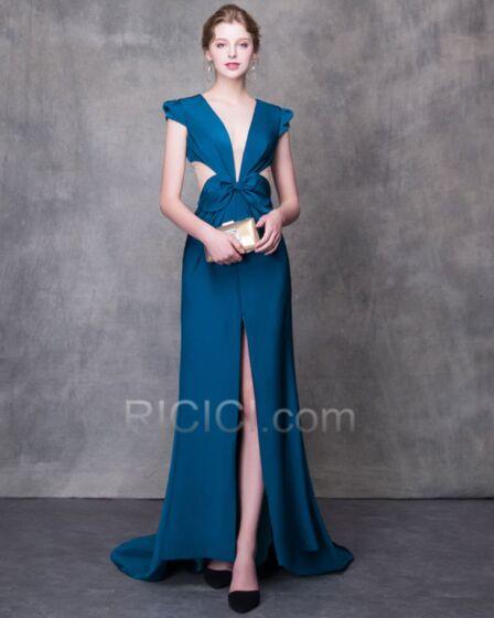Sexys Transparentes Vestidos Prom Largos Espalda Descubierta Azules Vestidos De Noche Para Fiesta Corte A