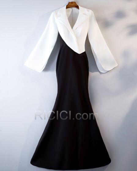 Vestidos De Fiesta Para Invitada Boda Largos Vestidos Camiseros Bloques De Color Blanco Y Negro Manga Larga Elegantes