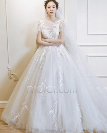 De Tul Escote V Pronunciado Crema Con Cuentas Vestidos De Novia Transparentes Princesa Elegantes Apliques Espalda Descubierta De Encaje