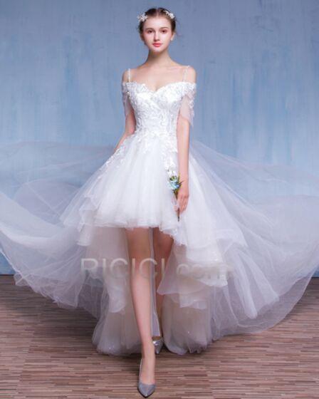 Acampanados Corto Civil Transparentes De Tul Vestidos De Novia Espalda Abierta De Encaje Blanco Hombros Caidos Bohemios