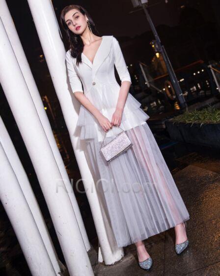 Volantes Media Manga Elegantes Divididos Vestidos Coctel Largos Blancos Escotados Vestidos De Graduacion Camiseros Vestidos Semi Formales