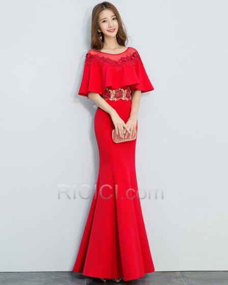De Satin Rojo Vestidos De Noche Para Fiesta De Encaje Peplum Largos Elegantes Vestidos De Madrina Sirena
