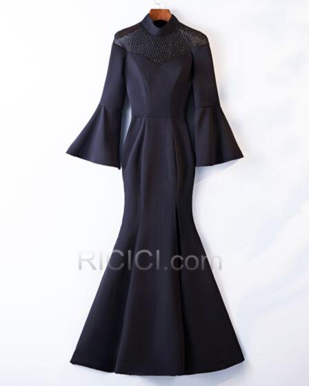 Vestidos Para Ir A Una Boda Largos Con Mangas Acampanadas Corte Sirena Vestidos Mama De La Novia Para Boda Manga Larga Negro