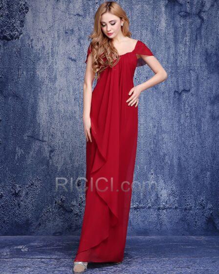 Con Manga Corta Drapeado Corte Imperio Rojos Vestidos Para Damas De Honor Para Bodas Gasa Elegantes Vestidos De Fiesta Invitada Boda Sencillos Largos