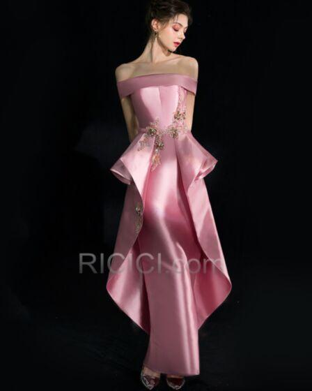 Rosa Palo Apliques Elegantes Hombros Caidos Peplum Sirena Largos Vestidos De Fiesta De Noche