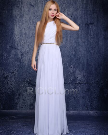 Vestidos De Damas De Honor Juveniles Vestidos De Fiesta De Noche Largos Con Cinturon Sencillos De Gasa Blancos Elegantes Corte Imperio Drapeados