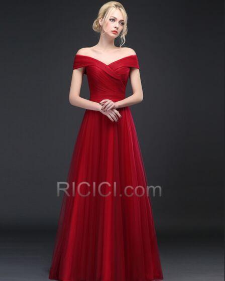 Espalda Descubierta Elegantes Hombros Caidos Premama Vestidos Para Damas De Honor Sencillos Vino De Tul Imperio Largos Plisado