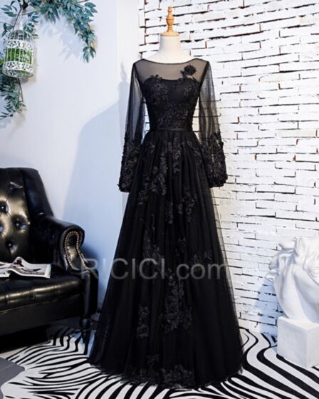 Vestidos De Fiesta De Noche Corte Imperio Largos Transparentes Negros Encaje Apliques Elegantes Linea A De Tul Manga Larga