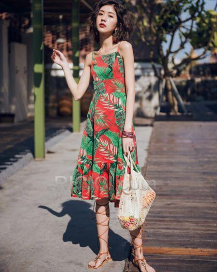 Midi Multicolor Sexys Vestidos Ropa De Playa De Tirantes Estampado Con Volantes Sin Espalda Bohemios