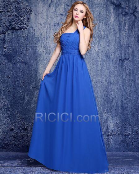 Hombros Descubiertos Vestidos De Damas De Honor Largos Corte Imperio Azul Rey Plisada Gasa Vestidos De Fiesta Para Bodas Elegantes Sencillos
