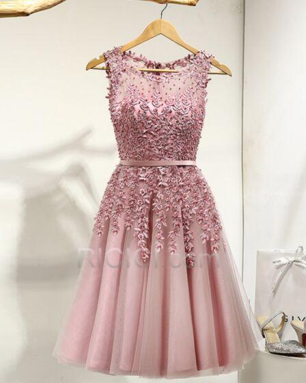Linea A Vestidos Coctel Apliques Color Rosa Viejo Boho