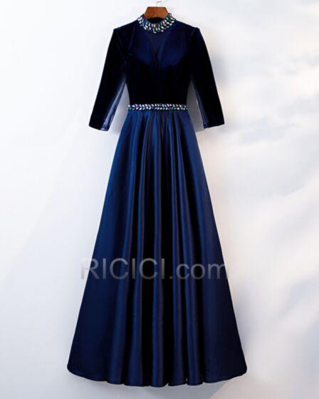 Vestidos Madre De La Novia Tul Manga Larga Elegantes Azul Marino Vestidos Invitada Boda De Satin Acampanados Corte Imperio