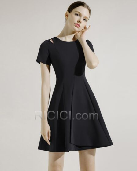 Escote Redondo Sencillos Negros Vestidos Semi Formales Con Manga Corta Hueco De saten LBD