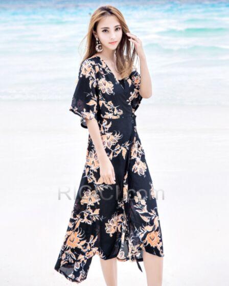 Wrap Bohemios Con Cinturon Largos Casuales Vestidos Playa Negro Estampado Gasa Vestidos