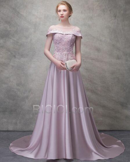 Largos Vestidos Para Homecoming Con Cola Elegantes Hombros Caidos De Encaje Vestidos De Noche Para Fiesta Transparentes Color Lavanda