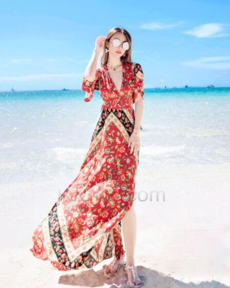 Bohemios Vestidos Playa Vestidos Estampados Espalda Descubierta Dividido De Gasa Vestidos Largos Rojo Flores