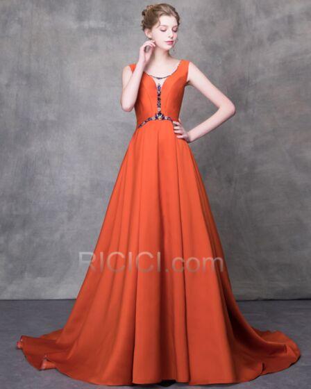Elegantes De saten Largos Vestidos De Fiesta Para Prom Vintage Escote V Pronunciado Espalda Descubierta Naranjas