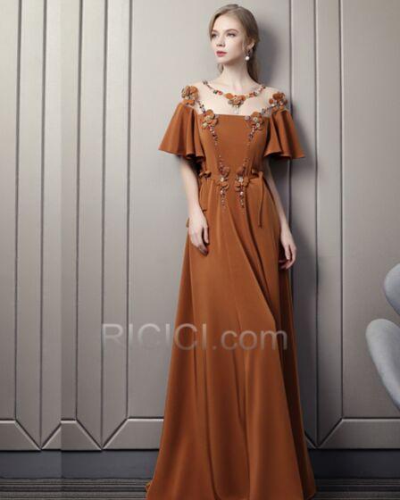 Largos Camel Elegantes Hombros Caidos Transparente Primavera Espalda Descubierta Vestidos De Fiesta De Noche Vestidos Prom Bohemios