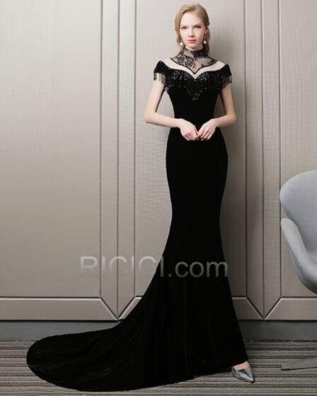 Ajustados Vestidos De Fiesta De Noche Terciopelo Largos Vestidos De Gala Verano Cuello Alto Transparentes Negro
