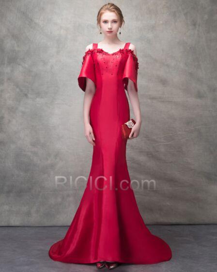 Vestidos De Noche Vestidos De Fiesta Para Prom Rojos Con Cola Largos Corte Sirena Elegantes Media Manga Mangas Acampanadas Escote Corazon