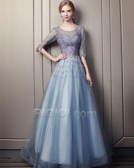 Vestidos De Fiesta De Noche Escote Redondo Vestidos Prom Sin Espalda Con Tul Azules