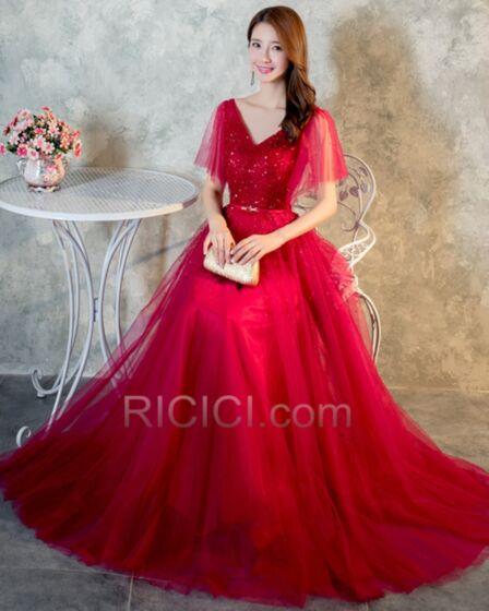 De Tul De Lentejuelas Vestidos De Prom Fiesta Escote V Largos Rojo Vestidos De Noche Para Fiesta Manga Corta Brillantes