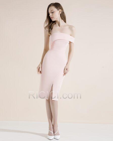 Vestidos Semi Formales Color Rosa Viejo Ajustados Peplum Sin Hombros Satin Sexys
