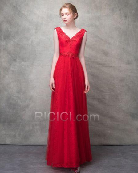 Vestidos De Noche Para Fiesta Encaje Imperio Con Cinturon Rojos Vestidos Para Damas De Honor Para Bodas Sencillos Largos Elegantes Espalda Descubierta