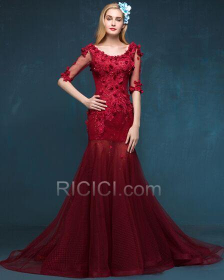 Espalda Abierta Vestidos De Noche De Encaje Con Cola Vestidos Prom Apliques Tul Color Burdeos Largos Elegantes De Lujo