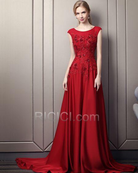 Largos Vestidos De Noche Espalda Descubierta Con Cola De Lujo Rojos Vestidos Prom Corte Imperio