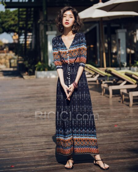 Vestido De Playa Bohemios Vestido Camisero Azul Marino Vestido Media Manga Gasa Largos Dividido