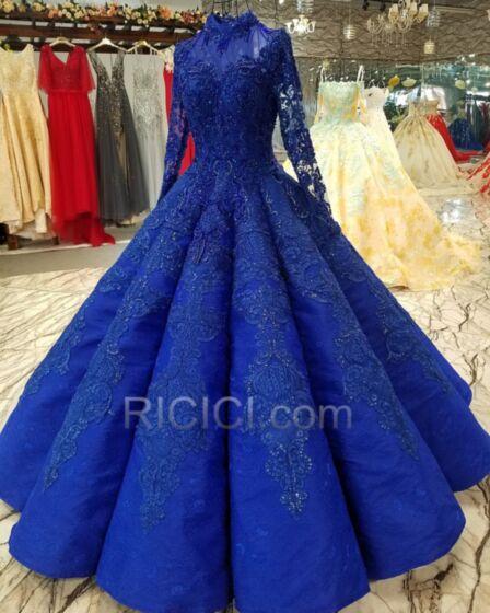 Largos Princesa Elegantes De Encaje Cuello Alto Manga Larga Modesto Invierno Vestidos De Prom Fiesta