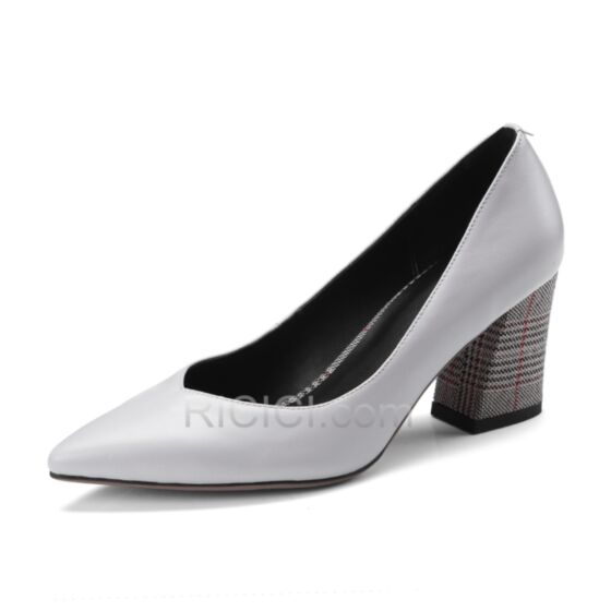 Pumps Chunky Heel Leather Mid Heels Summer Gray Pointed Toe Work Houndstooth Spring