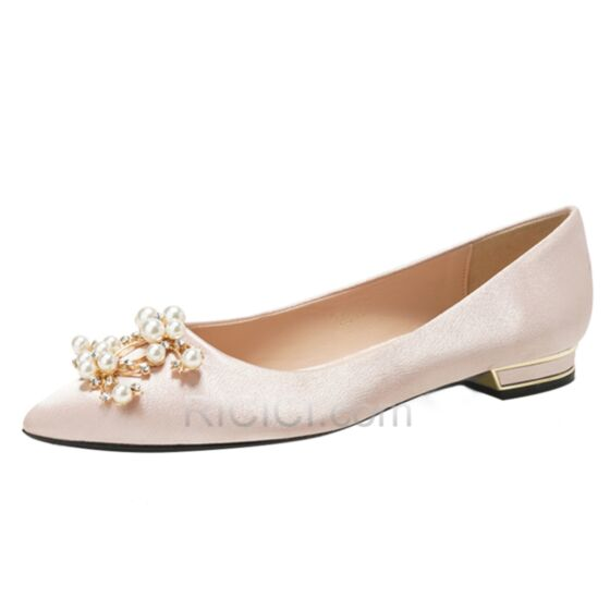 Wedding Shoes Champagne Ballerina Pointed Toe Flats With Pearl