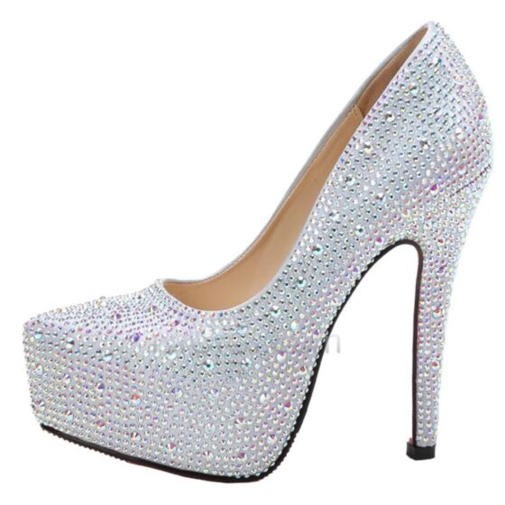 Glitter Platform Round Toe High Heel Sparkly Stiletto Heels Silver Quinceanera Shoes Party Shoes
