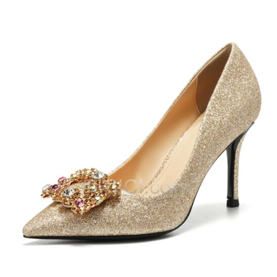 Pumps Shoes Stilettos Glitter With Rhinestones Pointed Toe Gold Wedding Shoes Sparkly 3 inch High Heel