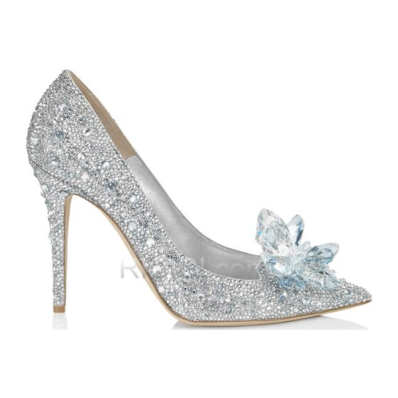 Stiletto Heel Prom Shoes Pointed Toe 7 cm Mid Heel Quinceanera Shoes Sparkly Bridals Wedding Shoes Crystal Pumps