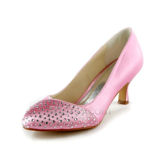 Bridal Shoes Pointed Toe Mid Heels Bridesmaid Shoes Light Pink Pumps