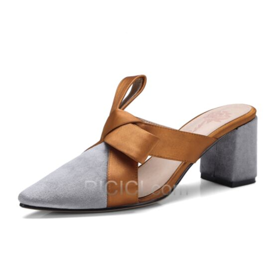 Sandals For Women Summer Gray Mid Heels Hollow Out Work Satin Pointed Toe Thick Heel