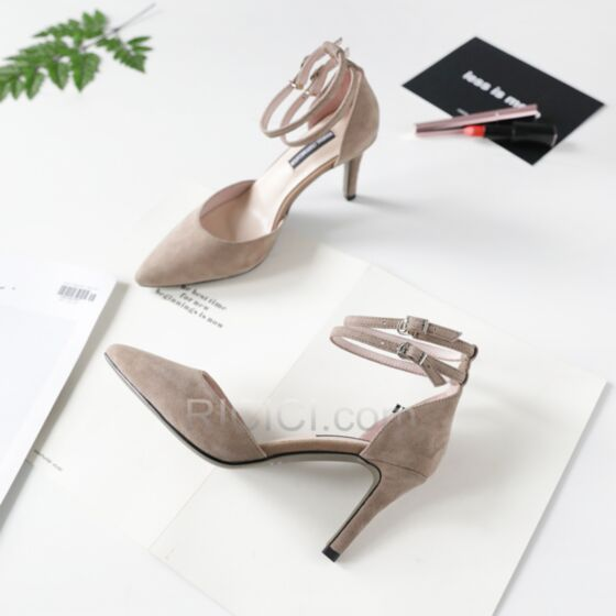 3 inch Leather High Heels Ankle Strap 2018 Taupe Suede Stilettos Womens Sandals