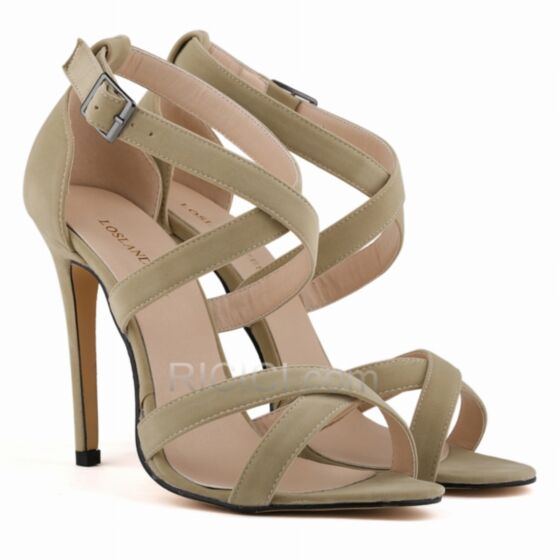 Nude Womens Shoes 11 cm Stiletto Heel Sandals For Women Suede