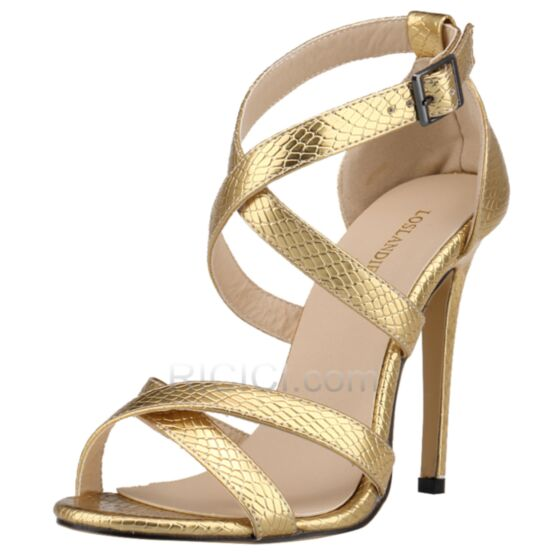 Leatherette Shoes For Women Sandals Stiletto High Heeled