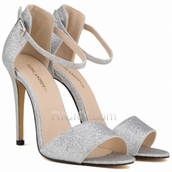 Silver Glitter Prom Shoes Womens Sandals Sparkly Stiletto Heel Strappy Ankle Strap