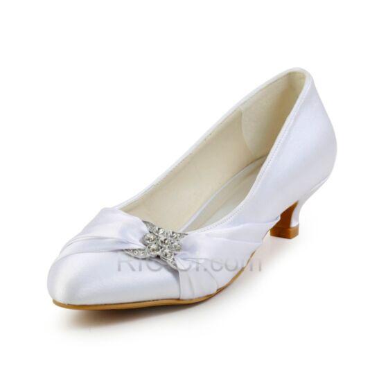 5 cm / 2 inch White Stilettos Heels Low Heel Satin Pointed Toe Bridal Bridesmaid Shoes Flounce Rhinestones Pumps