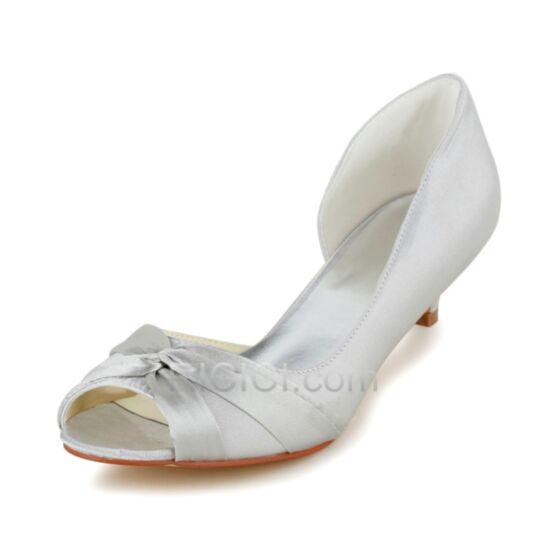 Bridesmaid Bridal Pumps 5 cm / 2 inch Heels Satin Shoes Stilettos Flounce Open Toe Ivory / Beige