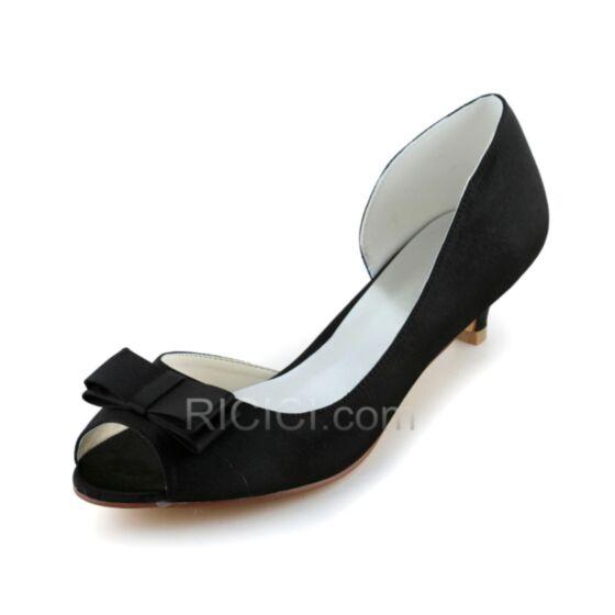 Stiletto Satin 5 cm / 2 inch Bridesmaid Shoes Pumps Kitten Heels Open Toe Bow D orsay