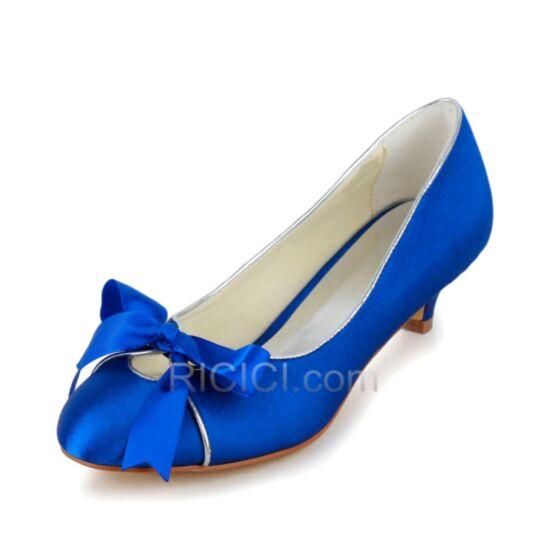 Stilettos Kitten Heels Summer Satin Bridal Bridesmaid Shoes For Women Pumps Bow Royal Blue 5 cm / 2 inch Peep Toe