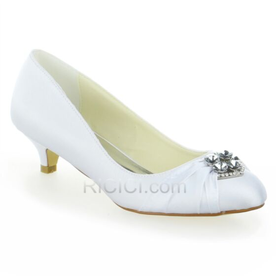 White Satin Wedding Bridesmaid Womens Shoes Crystal Pumps Heels Stiletto