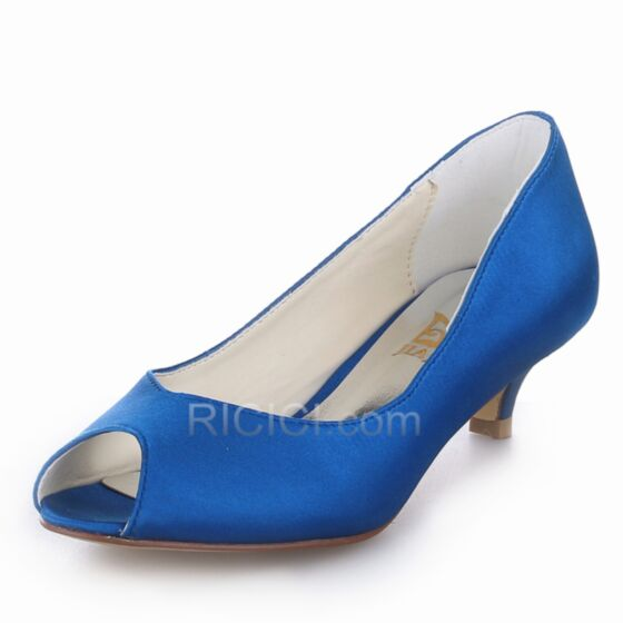Heels Bridesmaid Pumps Royal Blue Satin Low / Kitten Heels Peep Toe