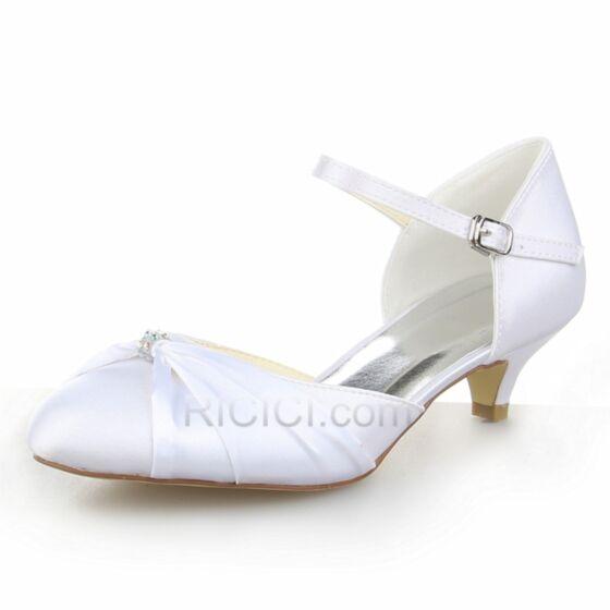 Rhinestones Ankle Strap 5 cm / 2 inch Satin Heels Bridal Bridesmaid Shoes Stiletto White Low Heel Pumps